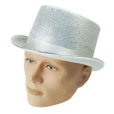 TOP HAT SILVER LUREX ADULT FANCY DRESS ACCESSORY