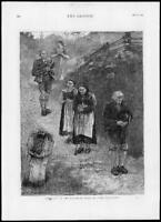 1875 Antique Print - FINE ART Bavarian Alps Der Bittgang Cap Hand Jesus (G118)