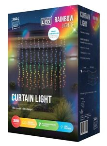 288 LED MULTI Rainbow Curtain Icicle  Outdoor Christmas Low Voltage Lights 1.8m