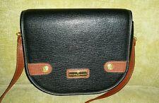 PHILIPPE CHARRIOL black vintage leather shoulder bag gold toned logo w/wallet