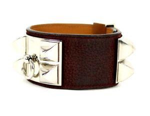 HERMES Prune Pebbled Leather COLLIER DE CHIEN Bracelet PHW Large