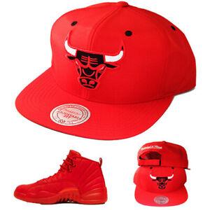 Mitchell & Ness Chicago Bulls Red Strapback Hat Match Air jordan 12 Gym Red Cap
