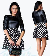 Sexy Kleid Boho Kunstleder Mode Cocktail Damen schößchen 34 36 38 40 XS S M L