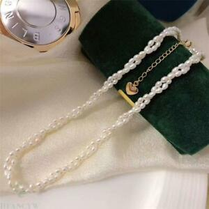 Natural White rice pearl Necklace 18 inch 18K clasp Wedding Classic Jewelry