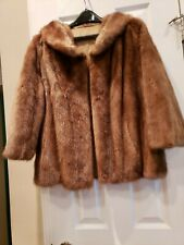 Vintage 1950s-1960 Mink Jacket Jackie O Chic with 3/4 Bell Sleeves. Size M.