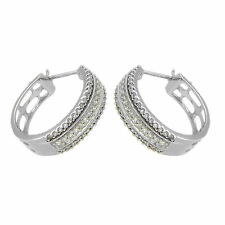 Finest 9 Ct White Gold Triple Row Diamond Hoop Earrings AT5.58.346G