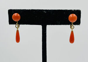Antique Gold Filled Red Coral Clip Dangle Drop Earrings