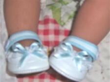 "Elegant Babydoll Shoes Crib style White W/BLUE 16"" dolls 2-1/4""L"