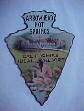 ARROWHEAD HOT SPRINGS/SAN BERNARDINO, CA. - Early Die-Cut Advertising Card