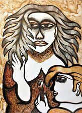 Cuban Art. Painting by Enrique Perez Triana. Amor Con Serpiente, 1989. Signed.