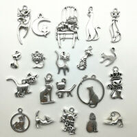 Lot Cat Antique Silver Jewelry Finding Charms Pendants Carfts DIY