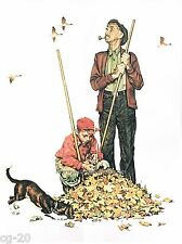 GRANDPA AND ME BURNING LEAVES - AUTUMN NORMAN ROCKWELL vintage print