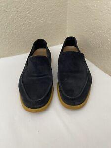 Loro Piana Summer Walk Dark Navy Blue Suede Loafer Men Shoes US 42.5 / US 9