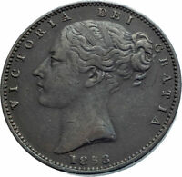 1853 UK Great Britain United Kingdom QUEEN VICTORIA Farthing Antique Coin i78333