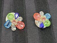 Vintage Flower Clip On Earrings Pink / Blue / Green / Clear