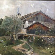 """Ölgemälde Bauernhaus Krautgarten """"Diessen 88"""" Johann Sperl Bad Aibling zgs.~1888"""