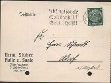 HALLE/SAALE, Postkarte 1935, Herm. Stutzer Schreibwaren-Großhandlung