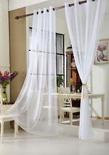 Gardine Vorhang transparent mit Ösen Ösenschal Dekoschal Stores Weiß VH5510ws