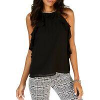 MICHAEL KORS NEW Women's Black Ruffled Chain-hardware Blouse Shirt Top XXL TEDO