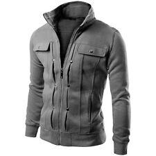 Men's Slim Fit Stand Collar Coat Tops Military Jacket Winter Outwear Blazer SP