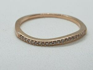 14ct Rose Gold Diamond Wave Stack Style Ring Size N 3/4