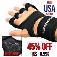 Gym Gloves Weight Lifting Bodybuilding Workout Crossfit Training Wrist Wrap Grip