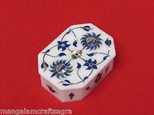 Marble Jewelry Box Lapis  Pietra Dura Craft Work Handmade Home Decor Gift