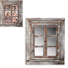 Spiegelfenster Deko Spiegel + Fensterläden + Bilderrahmen shabby braun Rundbogen