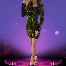 Women Sexy Long Sleeve Backless Solid Sequins Bodycon Club Party Mini Dress