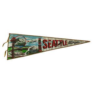 "Seattle Washington Space Needle 1970s 27"" Felt Souvenir Pennant Flag"