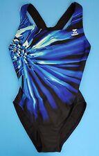 TYR Durafast MAXFIT Swimsuit 1-Pc ~ Black & Blue ~ WOMEN'S Sz 38 (XL)