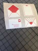 Vintage 1990 Mrs. Grossman's Valentine's Day Stickers  Letters Hearts Notes Rare