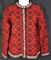 Vintage LL Bean Women Cardigan Sweater Size S Small Merino Lambs Wool Christmas