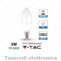 Lampadina led V-TAC 3W = 25W E14 bianco naturale 4500K VT-2033 candela smd VTAC