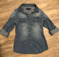 Ci Sono Pearl Snap Chambray Top Shirt Womens Size S Very Soft