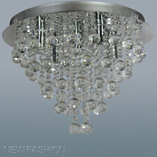 Round Clear Crystal Ceiling Light Contemporary Pendant Chandelier Lighting