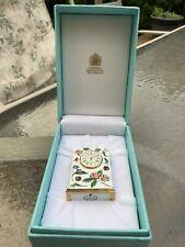 Halcyon Days enamel Mini Clock- Tiffany & Co- Flower Pattern- Perfect Condition