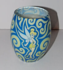 Disney Tinkerbell Candle 4in Peter Pan Parks Glass Blue Fairy