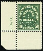 O122, RARE Mint NH 50¢ Official Stamp With Sideographer's Initials - Stuart Katz