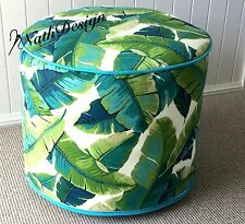 Outdoor Green and Turquoise Tropical Palm Leave Ottoman/Pouf/Footstool Cover