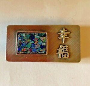 Vintage Sterling Silver Confetti Opal Money Clip