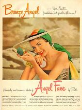 1950 vintage cosmetics AD ANGEL FACE Make-up Pretty model at the beach 032017