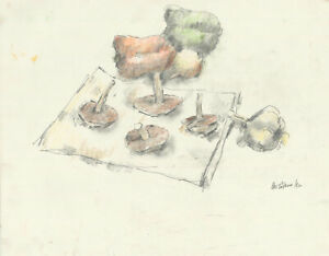 Peter Collins ARCA - Signed 1984 Crayon, Still Life with Fungi