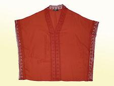 Camicetta da donna TUNICA scialle con pizzo tgl L Marrone-rosso mai indossato
