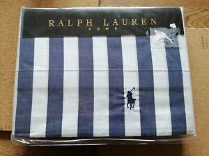 Ralph Lauren Flat Sheet King Size club stripe 100%cotton Bnwt