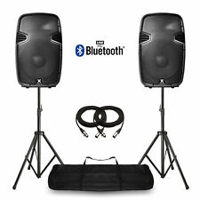 """15"""" Bluetooth Active Powered Speakers & Stands USB MP3 DJ PA Disco Party 1600W"""