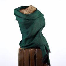 GRANDE Lusso YAK Lana Scialle Oversize Sciarpa Avvolgere Pashmina COPERTA Verde & Nero