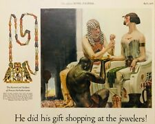 Antique 1925 Egyptian Revival Elgin National Wrist Watch Jewelers Color Print Ad