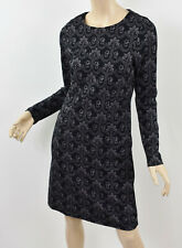 BODEN Black & Gray Floral GUINEVERE JACQUARD DRESS Cotton Knit Long Sleeve S 4/6