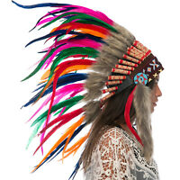 CLEARANCE PRICE! Native American Indian Style Feather Headdress- Rainbow Rooster